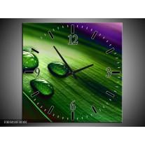 Wandklok op Canvas Druppel | Kleur: Groen, Wit, Paars | F003414C