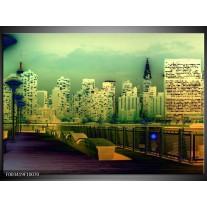 Glas schilderij Steden | Geel, Blauw, Groen