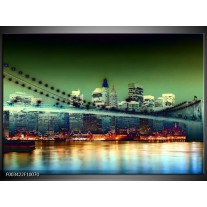 Glas schilderij Steden | Geel, Blauw, Rood
