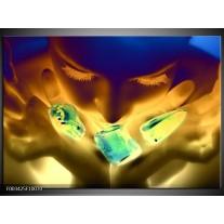 Foto canvas schilderij Gezicht | Groen, Geel, Blauw
