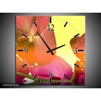 Wandklok op Canvas Orchidee | Kleur: Geel, Roze, Paars | F003426C