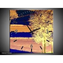 Wandklok op Canvas Boom | Kleur: Geel, Blauw, Zwart | F003427C