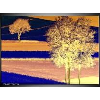 Glas schilderij Boom | Geel, Blauw, Zwart