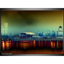 Glas schilderij Steden | Oranje, Blauw, Rood