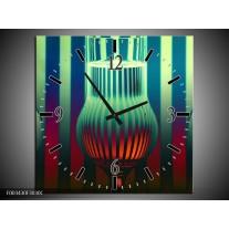 Wandklok op Canvas Glas | Kleur: Groen, Rood, Blauw | F003430C