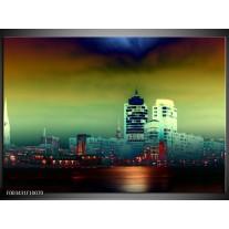 Glas schilderij Steden | Groen, Geel, Paars