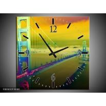 Wandklok op Canvas Brug | Kleur: Groen, Geel, Paars | F003432C