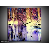 Wandklok op Canvas Natuur | Kleur: Paars, Geel, Wit | F003436C