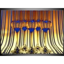 Foto canvas schilderij Glas   Geel, Blauw