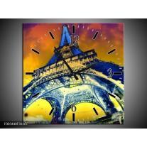 Wandklok op Canvas Eiffeltoren | Kleur: Blauw, Geel, Grijs | F003440C