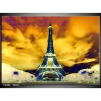 Glas schilderij Eiffeltoren | Blauw, Geel, Grijs