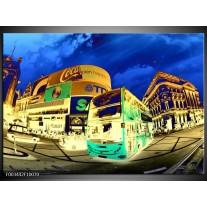 Glas schilderij Londen | Geel, Blauw, Groen