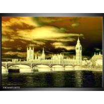 Glas schilderij Londen | Geel, Groen, Crème