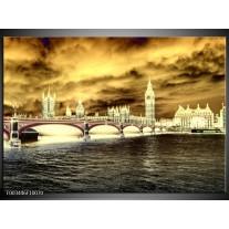 Glas schilderij Londen | Geel, Crème , Grijs