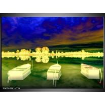 Foto canvas schilderij Boot | Geel, Blauw, Groen