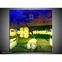 Wandklok op Canvas Boot | Kleur: Geel, Blauw, Groen | F003447C