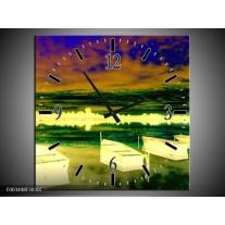 Wandklok op Canvas Boot | Kleur: Geel, Blauw, Groen | F003448C