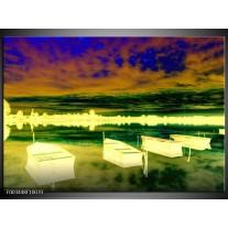 Glas schilderij Boot | Geel, Blauw, Groen