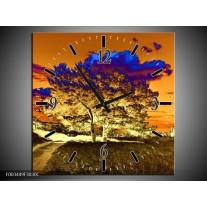 Wandklok op Canvas Natuur | Kleur: Oranje, Blauw, Geel | F003449C