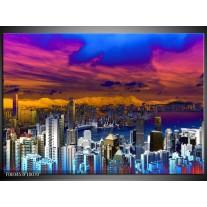 Glas schilderij Steden | Paars, Geel, Blauw