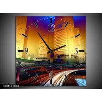 Wandklok op Canvas Steden | Kleur: Blauw, Geel, Oranje | F003454C