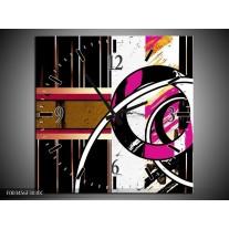 Wandklok op Canvas Abstract | Kleur: Roze, Zwart, Wit | F003456C