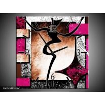 Wandklok op Canvas Abstract | Kleur: Roze, Zwart, Wit | F003458C
