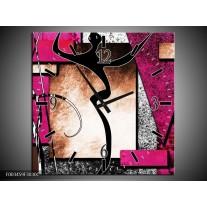 Wandklok op Canvas Abstract | Kleur: Roze, Zwart, Wit | F003459C