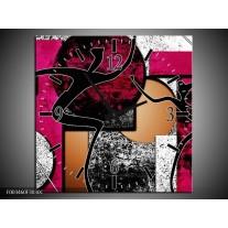 Wandklok op Canvas Abstract | Kleur: Roze, Zwart, Wit | F003460C