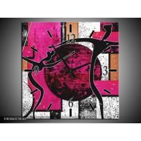 Wandklok op Canvas Abstract | Kleur: Roze, Zwart, Wit | F003461C