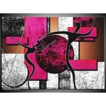 Glas schilderij Abstract | Roze, Zwart, Wit