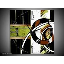 Wandklok op Canvas Abstract | Kleur: Bruin, Groen, Zwart | F003462C