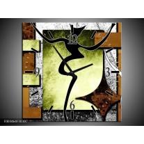 Wandklok op Canvas Abstract | Kleur: Bruin, Groen, Zwart | F003464C