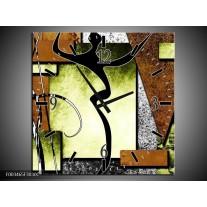 Wandklok op Canvas Abstract | Kleur: Bruin, Groen, Zwart | F003465C