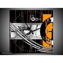 Wandklok op Canvas Abstract | Kleur: Oranje, Bruin, Wit | F003469C