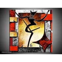 Wandklok op Canvas Abstract | Kleur: Rood, Grijs, Geel | F003470C