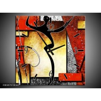 Wandklok op Canvas Abstract | Kleur: Rood, Grijs, Geel | F003471C
