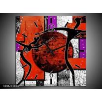 Wandklok op Canvas Abstract   Kleur: Rood, Zwart, Paars   F003473C