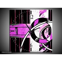 Wandklok op Canvas Abstract | Kleur: Paars, Zwart, Wit | F003474C