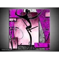 Wandklok op Canvas Abstract | Kleur: Paars, Zwart, Wit | F003477C