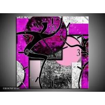 Wandklok op Canvas Abstract | Kleur: Paars, Zwart, Wit | F003478C