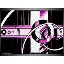 Glas schilderij Abstract | Paars, Zwart, Wit