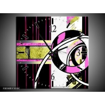 Wandklok op Canvas Abstract | Kleur: Paars, Groen, Wit | F003485C