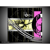 Wandklok op Canvas Abstract | Kleur: Paars, Groen, Wit | F003486C