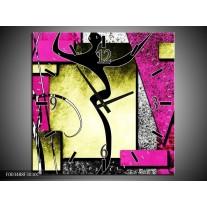 Wandklok op Canvas Abstract | Kleur: Paars, Groen, Wit | F003488C