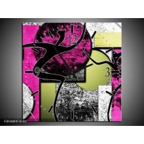 Wandklok op Canvas Abstract | Kleur: Paars, Groen, Wit | F003489C