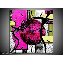 Wandklok op Canvas Abstract | Kleur: Paars, Groen, Wit | F003490C