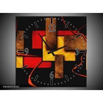 Wandklok op Canvas Abstract | Kleur: Rood, Geel, Bruin | F003493C