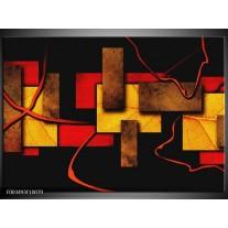 Glas schilderij Abstract | Rood, Geel, Bruin