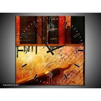 Wandklok op Canvas Abstract | Kleur: Rood, Zwart, Bruin | F003494C